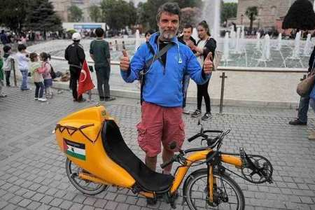 Italian cycles Rome to Istanbul by bicycle in solidarity with Palestine
