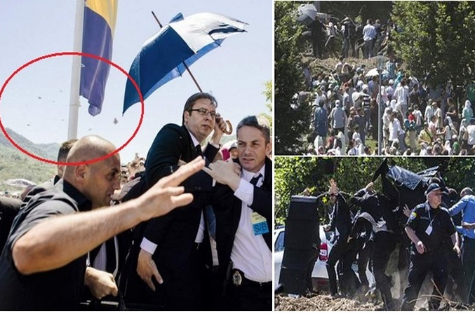 Serbian Prime Minister pelted with stones and flees from Srebrenica memorial