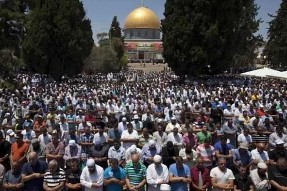 Thousands of Palestinians from the occupied West Bank marched to East Jerusalems