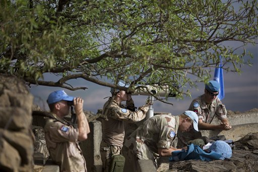 UN troops held in Golan 'for own protection