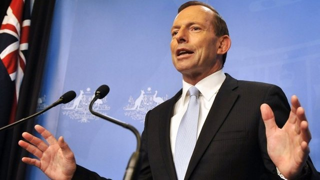 Newly elected Australian prime minister Tony Abbott sworn