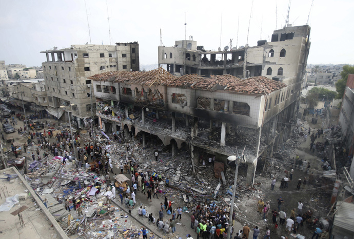 Gaza high-rise hit by Israeli strikes