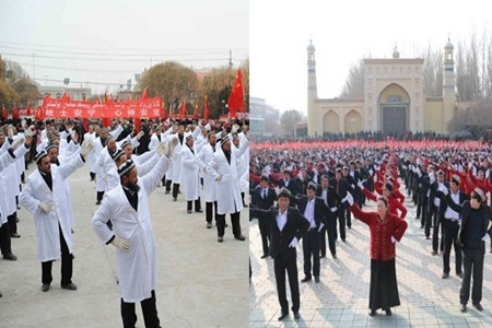 Chinese Government forced to Uyghur Imams and students to dance in the support o